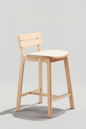 Grand Rapid's Brooke Stationary Counter Stool with Ladder Back in Natural Wood Finish and Beige Seat Cushion
