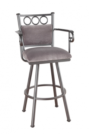 Callee's Winland Swivel Upholstered Metal Bar Stool with Arms