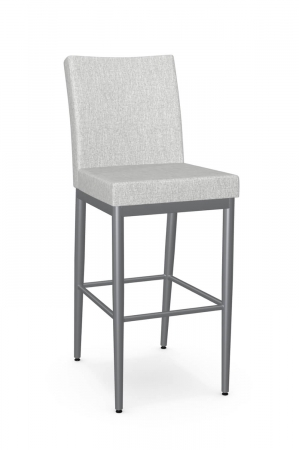 Amisco's Melrose Modern Gray Upholstered Bar Stool with Back