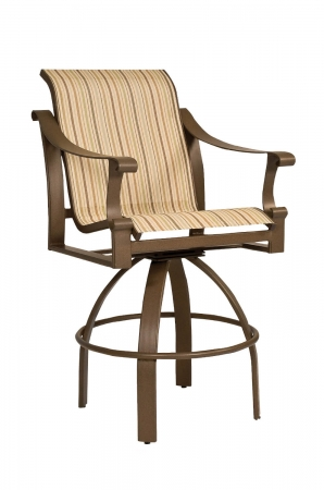 Woodard's Bungalow Sling Outdoor Bar Stool with Arms and Upholstered Seat and Back