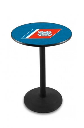 L214 Black Wrinkle US Coast Guard Logo Pub Table