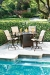 Woodard's Belden Sling Outdoor Swivel Bar Stools Near Pool