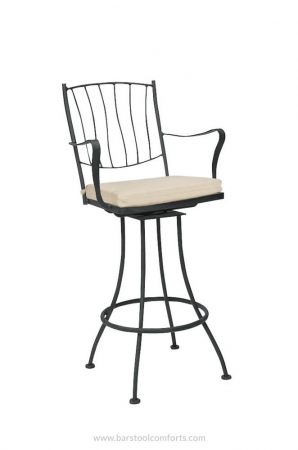 Woodard's Aurora Swivel Outdoor Bar Stool with Arms and Seat Cushion in Sand Color