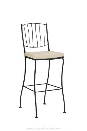 Woodard's Aurora Stationary Outdoor Patio Bar Stool with Back and Seat Cushion