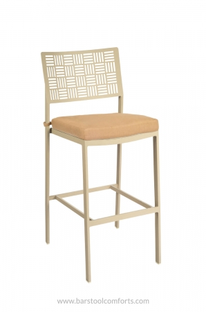 Woodard's New Century Outdoor Bar Stool with Seat Cushion