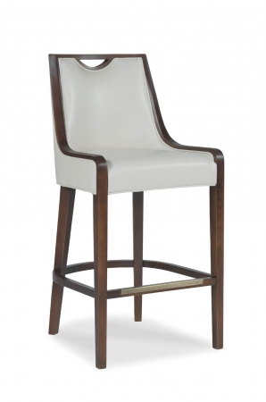 Fairfield Chair's Anthony Wooden Bar Stool with Tall Upholstered Back and Seat with Wood Frame