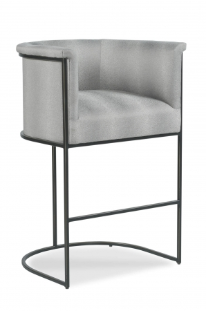 Fairfield's Nolita Modern Upholstered Barstool with Curved Back and Arms in Bronze finish