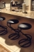 Lisa Furniture's #97 Backless Round Stools in Black in Modern Kitchen