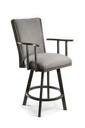 Wesley Allen's Humphrey Upholstered Swivel Bar Stool with Back and Arms