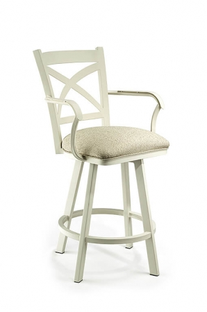 Wesley Allen's Edmonton Swivel Stool with Cross Back Design and Arms