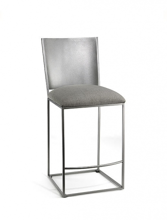 Wesley Allen's Lassen Square Modern Upholstered Stool with Back and Sled Base