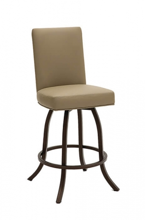 Wesley Allen's Toledo Upholstered Swivel Stool with Back