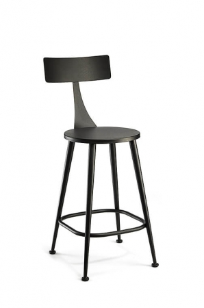 Wesley Allen's Minnoy Scandinavian Non-Swivel Stool with Back