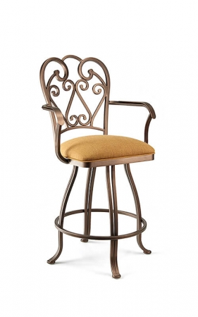 Wesley Allen's Ventura Swivel Barstool with Swirl Back and Arms