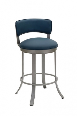 Wesley Allen's Bali Swivel Bar Stool with Low Back and Blue Seat and Back Cushion