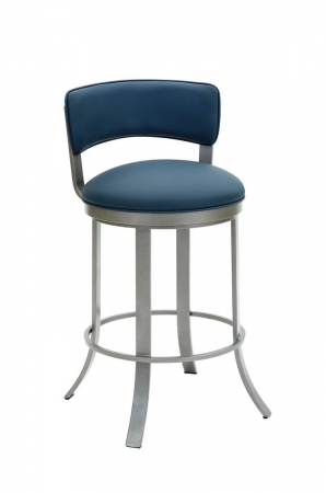 Wesley Allen's Bali Upholstered Swivel Bar Stool with Low Back in Silver Metal and Blue Cushion