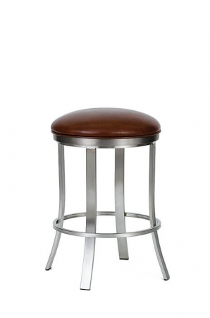 Wesley Allen's Bali Metal Backless Swivel Stool in Stainless Steel with Round Seat Cushion