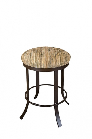 Wesley Allen's Bali Metal Backless Swivel Stool with Round Seat Cushion