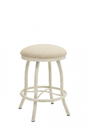 Wesley Allen's Atlanta Backless Swivel Metal Stool in Ivory with Round Seat Cushion