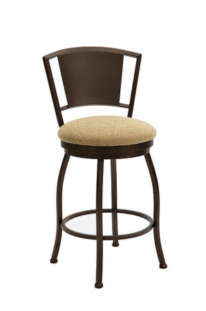 Wesley Allen's Berkeley Swivel Barstool with Metal Back and Round Seat Cushion