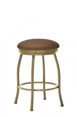 Wesley Allen's Berkeley Gold Backless Swivel Bar Stool with Round Seat