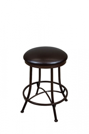 Wesley Allen's Cleveland Backless Swivel Bar Stool with Seat Cushion and Cross Footrest