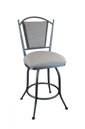 Wesley Allen's Durham Upholstered Swivel Bar Stool with Back in Gray
