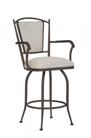 Wesley Allen's Durham Traditional Swivel Bar Stool with Arms in Copper
