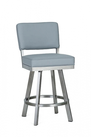 Wesley Allen's Miami Swivel Barstool in Stainless Steel with Upholstered Back and Square Seat