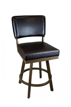 Wesley Allen's Miami Swivel Barstool with Upholstered Back and Square Seat