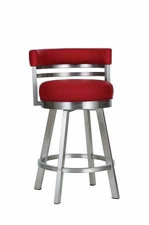 Wesley Allen's Miramar Swivel Bar Stool in Stainless Steel with Curved Low Padded Back
