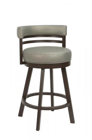 Wesley Allen's Miramar Swivel Bar Stool with Low Back in Brown