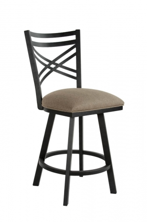 Wesley Allen's Raleigh Swivel Transitional Barstool in Black and Brown
