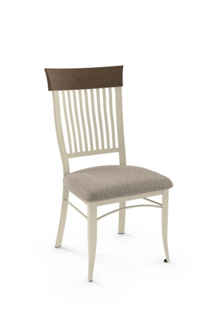 Amisco's Annabelle Country Dining Chair with Vertical Slats and Back Wood Trim, Seat Cushion
