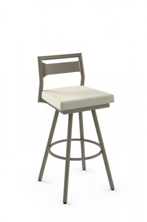 Amisco's Viggo Scandinavian Swivel Bar Stool with Low Backrest and Square Seat