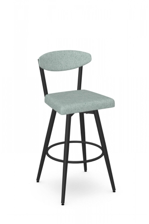 Amisco's Wilbur Retro Swivel Bar Stool in Black and Soft Blue