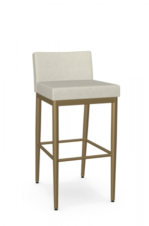 Amisco's Hanson Gold Modern Bar Stool with Low Back Upholstered