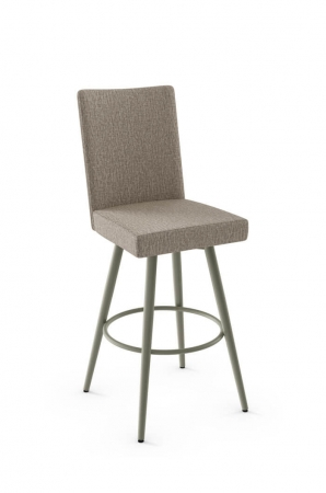 Amisco's Webber Upholstered Swivel Bar Stool with Square Seat and Tall Back
