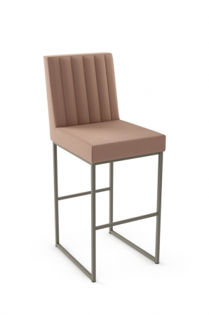 Amisco's Darcy Upholstered Stationary Bar Stool with Vertical Channel Quilting on Back with Sled Base