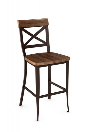 Amisco's Kyle Stationary Metal Bar Stool with Cross Back Design and Distressed Wood Seat