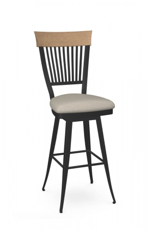 Amisco's Annabelle Traditional Swivel Bar Stool with Wood Back Accent, Seat Cushion, and Black Metal Frame