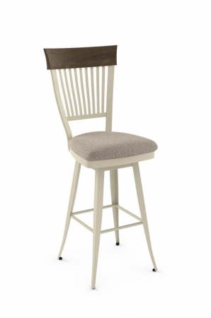 Amisco's Annabelle Swivel Barstool with Distressed Solid Wood Trim on Back, Metal Frame and Seat Cushion
