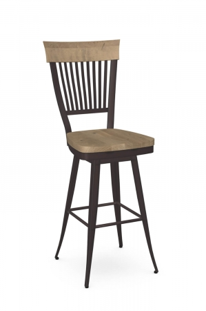 Amisco's Annabelle Country Swivel Metal Bar Stool in Brown with Vertical Slats on Back and Wood Seat
