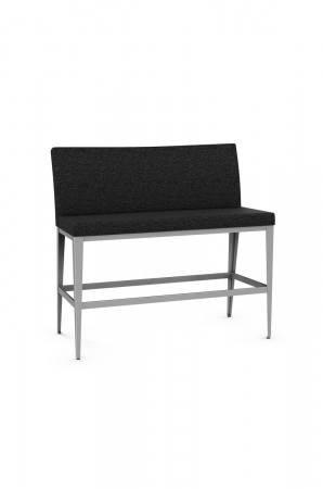 Amisco's Pablo Upholstered Bar Height Bench with Back, 4-Legs and Footrest