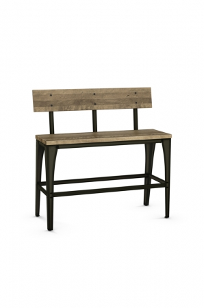 Amisco's Architect Industrial Bar Stool Bench with Wood on Seat and Back with Metal Base