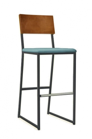 Grand Rapid's Brady Stationary Barstool with Wood Back and Seat Cushion on a Sled Base