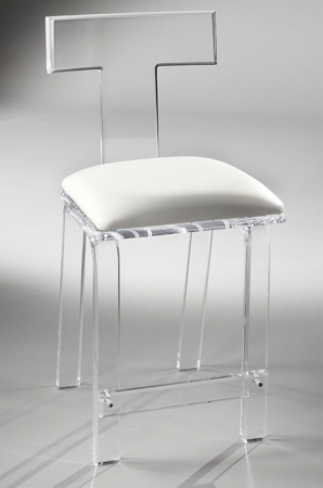 Muniz's Sofia Acrylic / Lucite Stationary Bar Stool with Tall Back and Square Seat Cushion