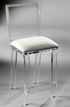 Muniz's Classic Acrylic Clear Stationary Barstool with Clear Square Backrest and Square Seat Cushion