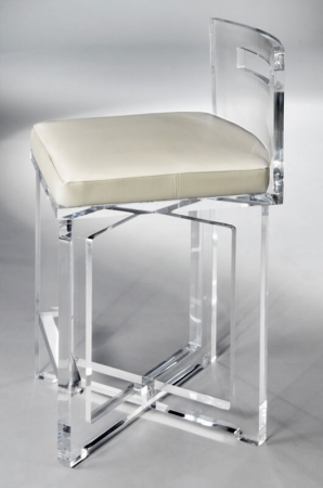 Muniz's Candy Acrylic Clear Stationary Bar Stool with Low Backrest, Square Seat Cushion and Cross Style Base