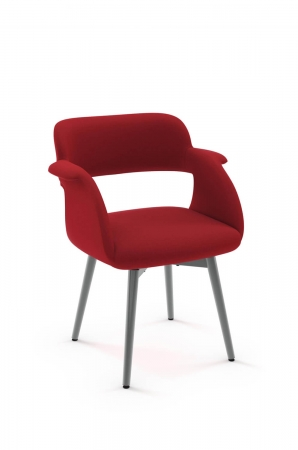 Amisco's Sorrento Swivel Upholstered Dining Chair with Half Arms and Four Metal Legs